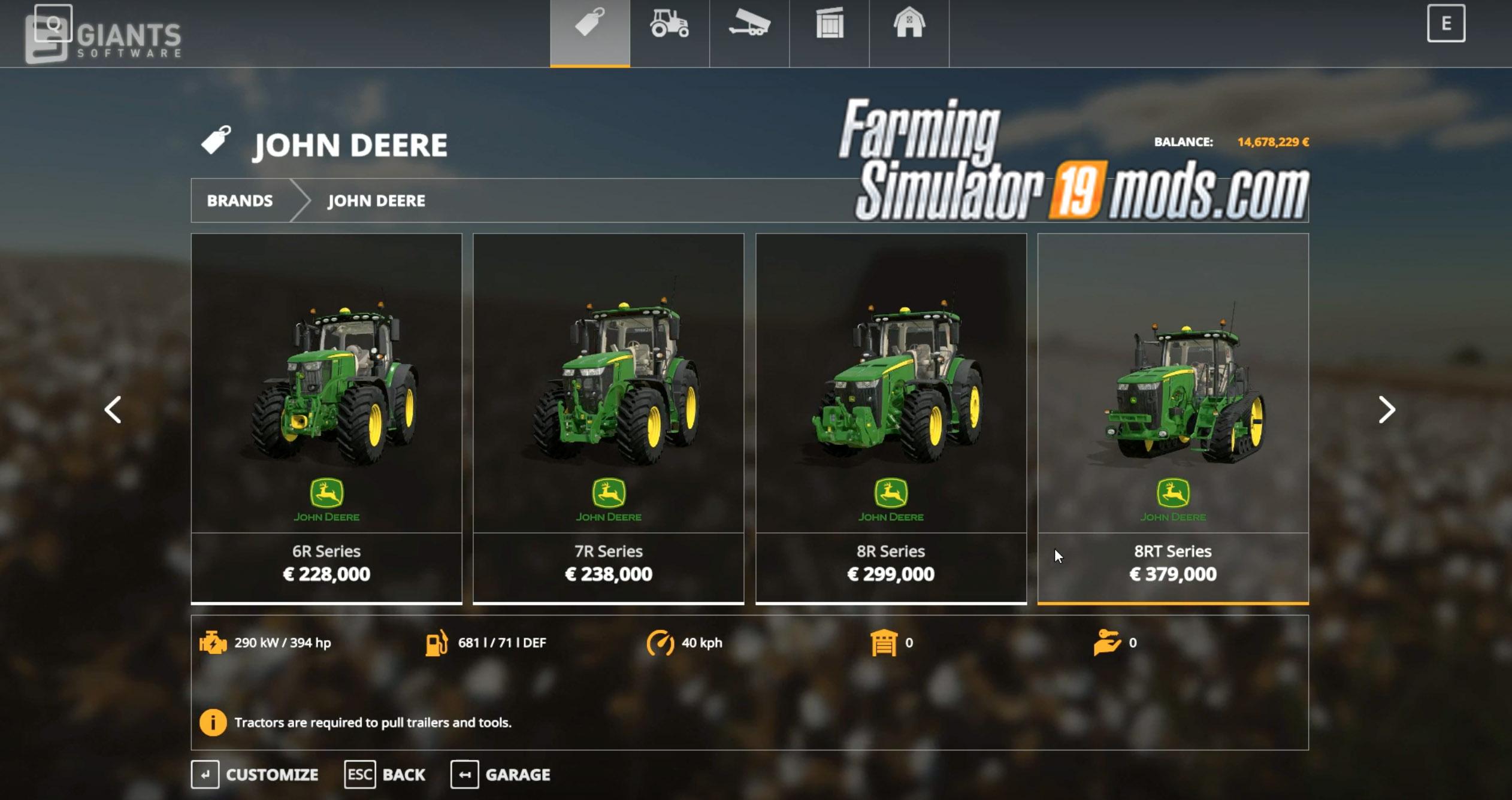 John Deere Tractors, Combines & Tools in Farming Simulator