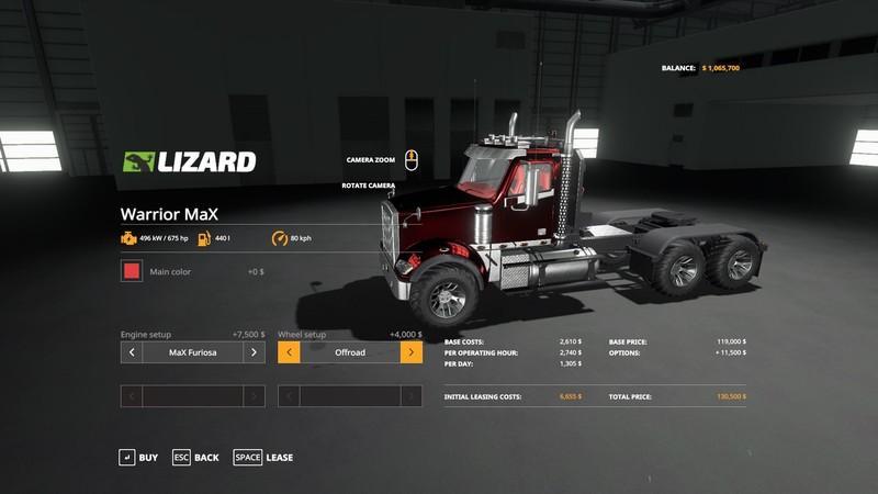 Warrior MaX Truck v1 2 0 FS19 - Farming Simulator 19 Mod