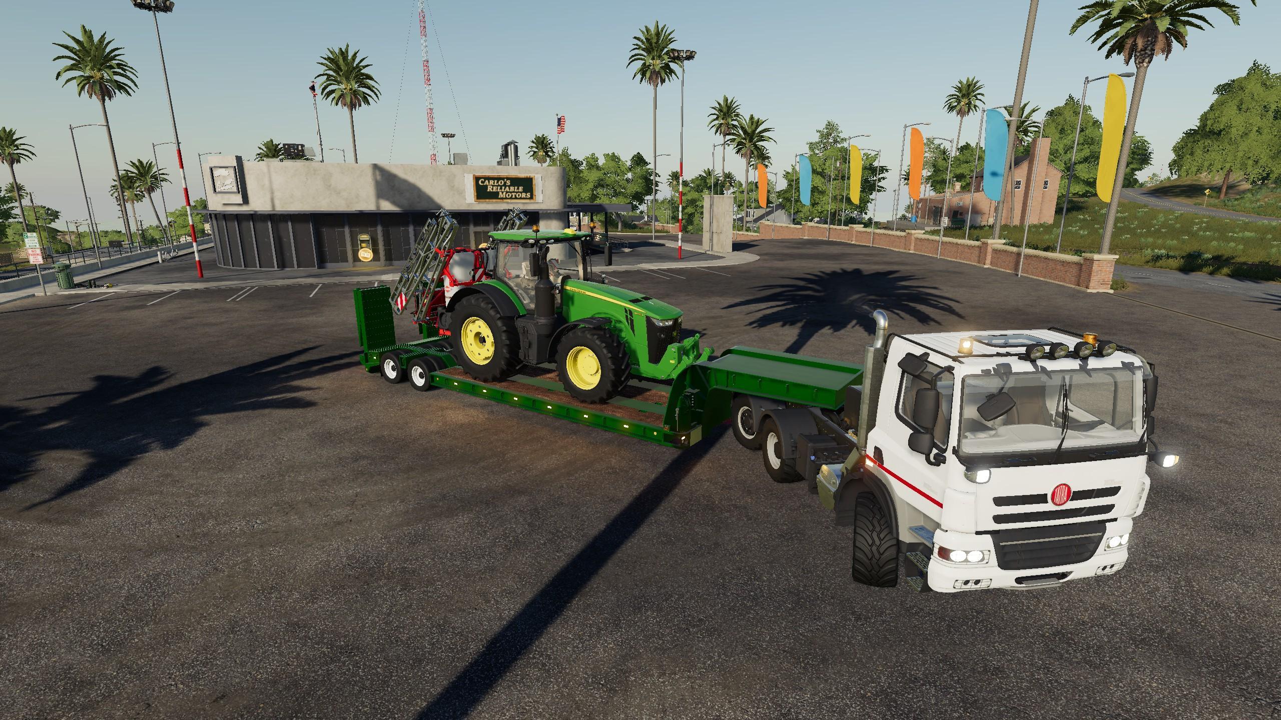 16wheelsLowdeckTrailer v1 0 0 0 FS19 - Farming Simulator 19 Mod