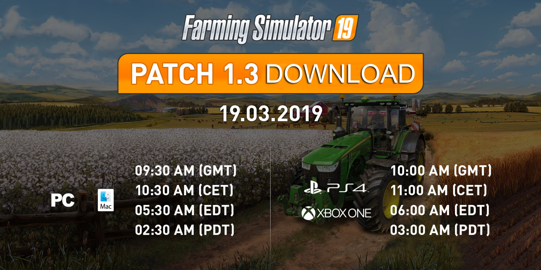Farming Simulator 19 - UPDATE 1 3 - Farming Simulator 19 Mod | FS19 mod