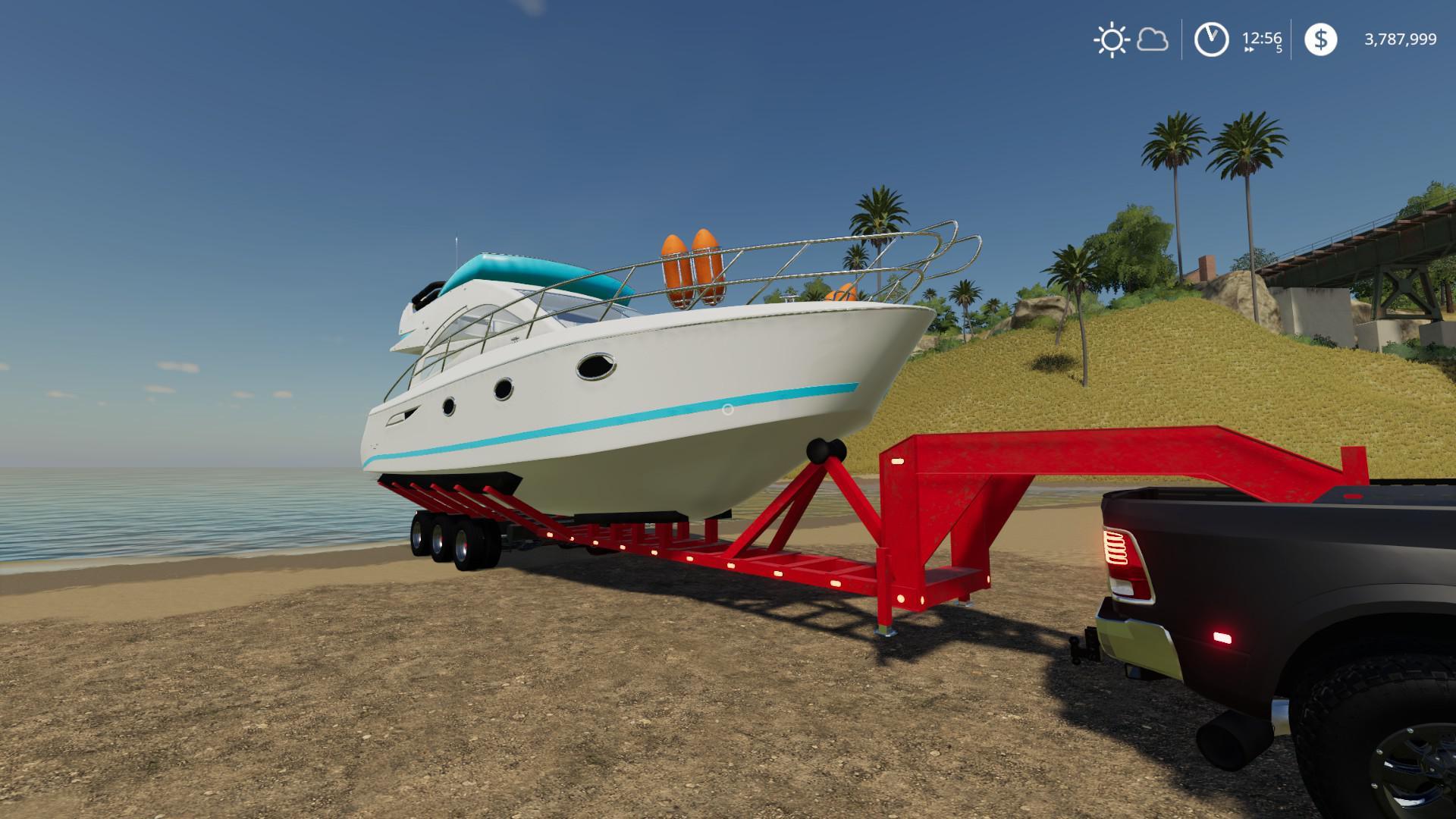 Oversize Boat Trailer v1 0 FS19 - Farming Simulator 19 Mod